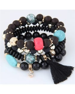 Assorted Beads with Tassel Design Four Layers Candy Color High Fashion Bracelets - Black