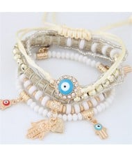 Palm and Heart Pendants Multi-layer Beads and Weaving Rope Fashion Bracelets - White