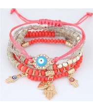 Palm and Heart Pendants Multi-layer Beads and Weaving Rope Fashion Bracelets - Red