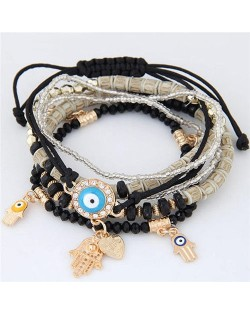 Palm and Heart Pendants Multi-layer Beads and Weaving Rope Fashion Bracelets - Black
