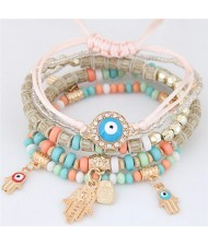 Palm and Heart Pendants Multi-layer Beads and Weaving Rope Fashion Bracelets - Pink