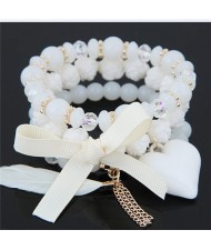 Peach Heart Bowknot and Feather Pendants Three Layers Beads Combo Fashion Bracelets - White