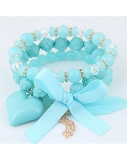 Peach Heart Bowknot and Feather Pendants Three Layers Beads Combo Fashion Bracelets - Blue