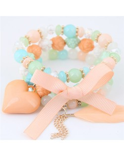 Peach Heart Bowknot and Feather Pendants Three Layers Beads Combo Fashion Bracelets - Multicolor