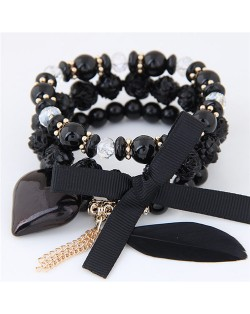 Peach Heart Bowknot and Feather Pendants Three Layers Beads Combo Fashion Bracelets - Black