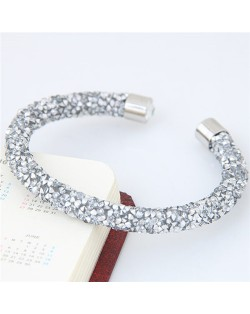 Shining Rhinestone Dust Inlaid Open-end High Fashion Bracelet - White