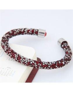 Shining Rhinestone Dust Inlaid Open-end High Fashion Bracelet - Red