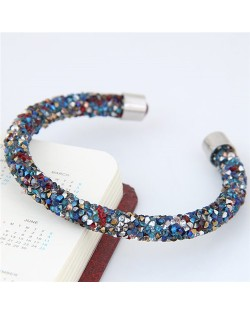 Shining Rhinestone Dust Inlaid Open-end High Fashion Bracelet - Multicolor