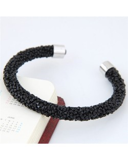 Shining Rhinestone Dust Inlaid Open-end High Fashion Bracelet - Black