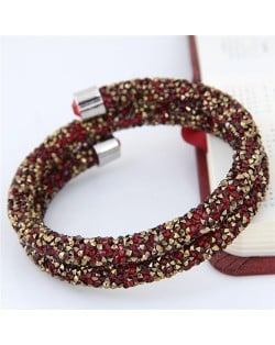 High Fashion Rhinestone Dust Attached Shining Dual Layer Bangle - Golden and Red