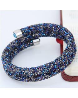 High Fashion Rhinestone Dust Attached Shining Dual Layer Bangle - Blue