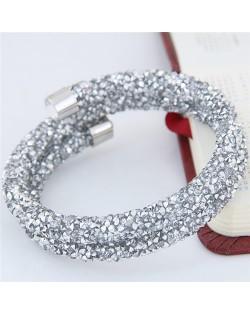 High Fashion Rhinestone Dust Attached Shining Dual Layer Bangle - Silver