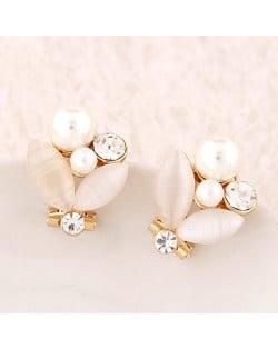 Korean Fashion Sweet Opal Leaf Pearl Ear Studs