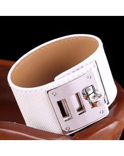 Bold Punk Style Alloy Decoration Design Wide Leather Bracelet - White