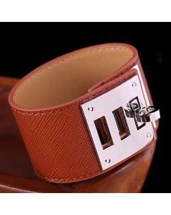 Bold Punk Style Alloy Decoration Design Wide Leather Bracelet - Brown
