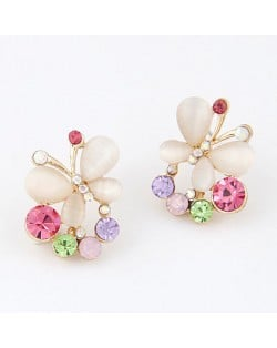 Fashionable Colorful Rhinestone Decorated Opal Butterfly Earrings