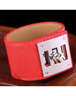 Bold Punk Style Alloy Decoration Design Wide Leather Bracelet - Red