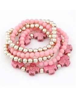 Cute Crosses and Multi-layer Beads Combo Elastic Fashion Bracelet