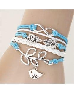 Night Owls and Bird Pendants Multi-layer Handmade Weaving Rope Bracelet - Blue
