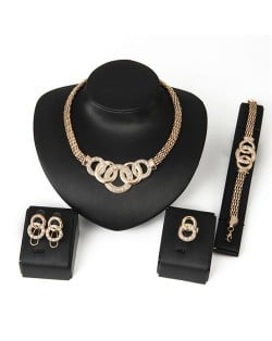 Golden Linked Hoops Design Chunky Fashion Four Pieces Jewelry Set
