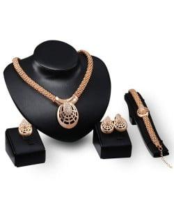 Cobweb Inspired Chunky Fashion Gold Plated 4pcs Jewelry Set