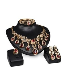 Red Gems Inlaid Graceful Floral Pattern Design Gold Plated 4pcs Fashion Jewelry Set