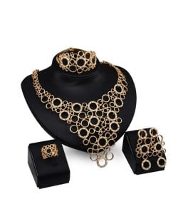High Fashion Rhinestone Embellished Hollow Rounds Design 4pcs Golden Jewelry Set