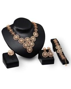 Shining Golden Chrysanthemums 4pcs Fashion Jewelry Set