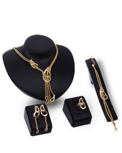 Angel Tears Dual Chunky Chain Wedding Party 4pcs Golden Fashion Jewelry Set