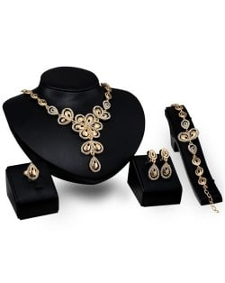 Feather Combined Flowers Design Wedding Party 4pcs Golden Fashion Jewelry Set