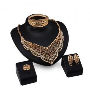 Rhinestone Embellished Hollow Royal Fashion 4pcs Golden Jewelry Set