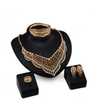 Rhinestone Embellished Hollow Royal Fashion 4pcs Golden Jewelry Set