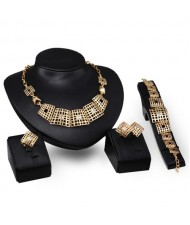 Rhinestone Embellished Hollow Squares Combo Design 4pcs Golden Fashion Jewelry Set