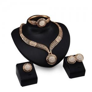 Rhinestone Flower Embellished Hollow Propitious Cloud Design 4pcs Golden Fashion Jewelry Set