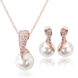 Rhinestone and Pearl Fashion Bride Style 2pcs Rose Gold Fashion Jewelry Set