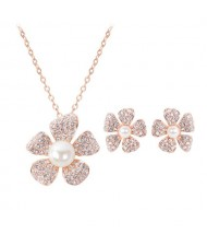 Rhinestone and Pearl Inlaid Plum Blossom 2pcs Rose Gold Fashion Jewelry Set