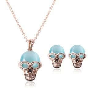 Opal Skull Fashion 2pcs Rose Gold Fashion Jewelry Set