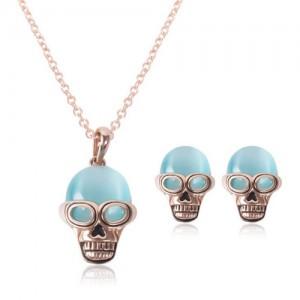 Opal Skull Fashion 2pcs Rose Gold Fashion Jewelry Set