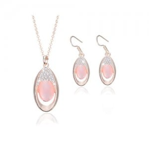 Rhinestone and Opal Inlaid Shinining Waterdrop Design 2pcs Rose Gold Fashion Jewelry Set