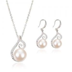 Pearl Inlaid Elegant Artistic Hollow Design 2pcs Wedding Fashion Jewelry Set