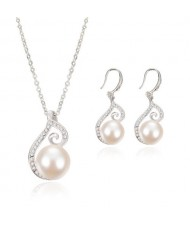 Pearl Inlaid Elegant Artistic Hollow Design 2pcs Wedding Fashion Jewelry Set