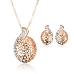 Rhinestone Inlaid Hearts Mingled Hollow Design 2pcs Rose Gold Wedding Fashion Jewelry Set