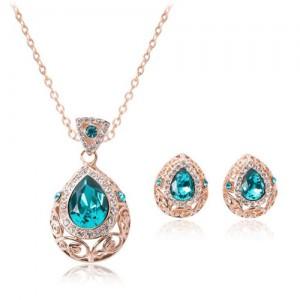 Rhinestone Inlaid Hollow Floral Waterdrop Design 2pcs Rose Gold Fashion Jewelry Set