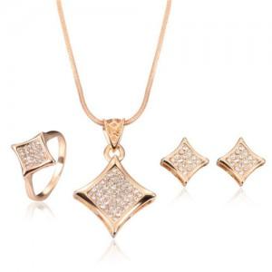 Glistening Star Design 3pcs Rose Gold Fashion Jewelry Set
