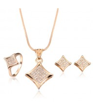 Glistening Star Design 3pcs Rose Gold Fashion Jewelry Set