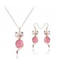 Cute Fox Design 2pcs Rose Gold Fashion Jewelry Set