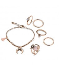 Moon and Star Inspired Rings Combo 7pcs High Fashion Jewelry Set