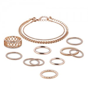 Unique Style Rings and Bracelets Combo 12pcs High Fashion Jewelry Set