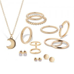 Knuckle Rings Combo Necklace and Studs Earrings 12pcs High Fashion Jewelry Set