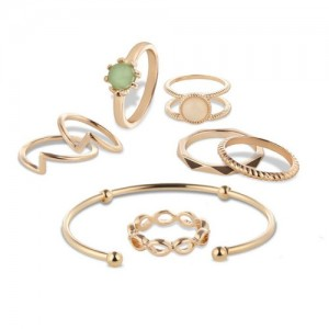 Bracelet and Rings Combo 8pcs High Fashion Jewelry Set
